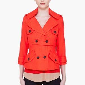 Smythe Coral Orange Military Style 3/4 Sleeve Blazer 2